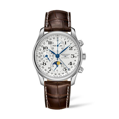 Longines Master Men's 40mm Auto Chronograph Stainless Steel Watch with Brown Leather