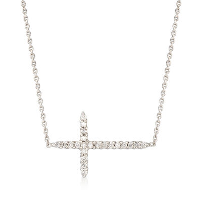 Roberto Coin .10 ct. t.w. Diamond Sideways Cross Necklace in 18kt White Gold, , default