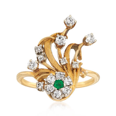 C. 1960 Vintage .50 ct. t.w. Diamond Cluster Ring with Emerald Accent in 18kt Yellow Gold, , default