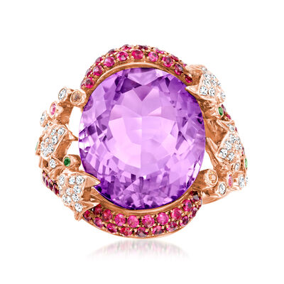 C. 1990 Vintage 9.79 Carat Amethyst Fish Ring with .86 ct. t.w. Multi-Gemstones and .18 ct. t.w. Diamonds in 18kt Rose Gold