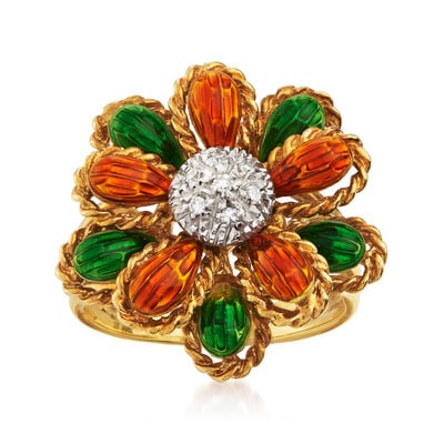 C. 1990 Vintage Orange and Green Enamel Flower Ring with Diamond Accents in 18kt Yellow Gold, , default