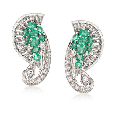 C. 1960 Vintage 2.25 ct. t.w. Emerald and 1.00 ct. t.w. Diamond Earrings in Platinum