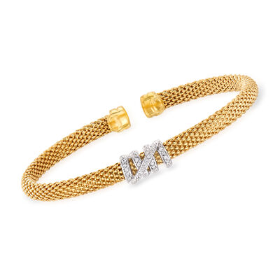 "Phillip Gavriel ""Popcorn"" .13 ct. t.w. Diamond Cuff Bracelet in 14kt Yellow Gold"
