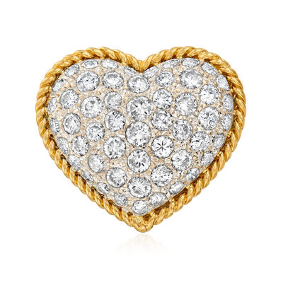 C. 1980 Vintage 2.43 ct. t.w. Diamond Heart Ring in 18kt Yellow Gold