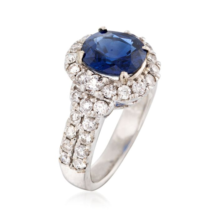 C. 1980 Vintage 2.64 Carat Sapphire and 1.25 ct. t.w. Diamond Ring in 14kt White Gold