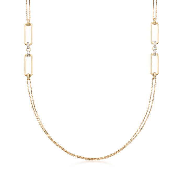 "Roberto Coin ""Parisienne"" .55 ct. t.w. Diamond Double Chain Necklace in 18kt Yellow Gold"