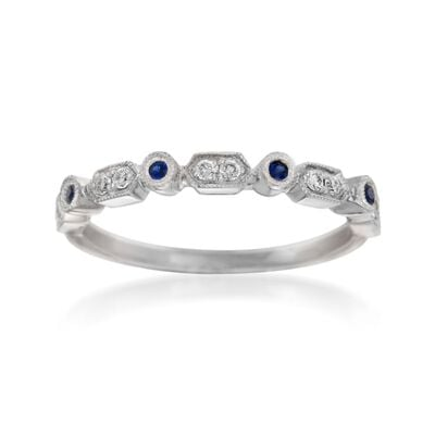 Henri Daussi .19 ct. t.w. Sapphire and Diamond Wedding Ring in 14kt White Gold, , default