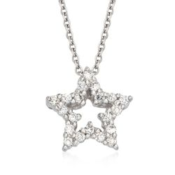 "Roberto Coin .10 ct. t.w. Tiny Treasure ""Star"" Diamond Necklace in 18kt White Gold, , default"