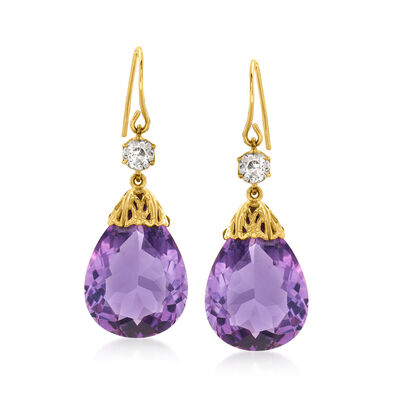 C. 1980 Vintage 24.00 ct. t.w. Amethyst and .60 ct. t.w. Diamond Drop Earrings in 14kt Yellow Gold