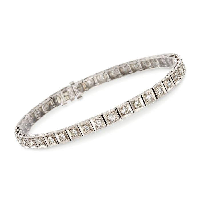 C. 1950 Vintage 2.00 ct. t.w. Diamond Tennis Bracelet in Platinum. 6.75""