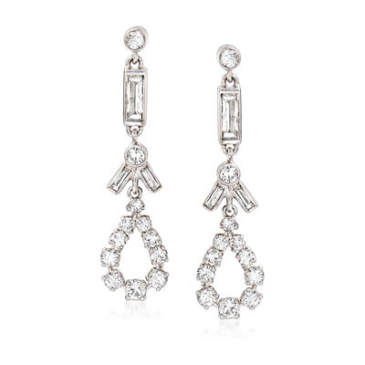 C. 1990 Vintage 1.80 ct. t.w. Diamond Drop Earrings in Platinum and 14kt White Gold, , default