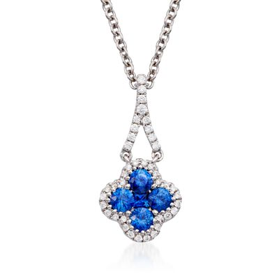 Gregg Ruth .49 ct. t.w. Sapphire and .13 ct. t.w. Diamond Pendant Necklace in 18kt White Gold