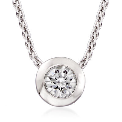 C. 2000 Vintage .25 Carat Bezel-Set Diamond Necklace in 14kt White Gold
