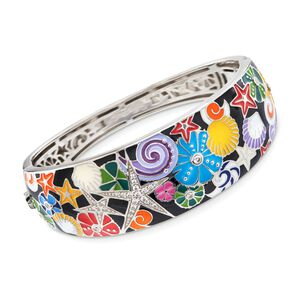 Belle Etoile Starfish Black and Multicolored Enamel Bangle Bracelet with CZs in Sterling Silver. #885144