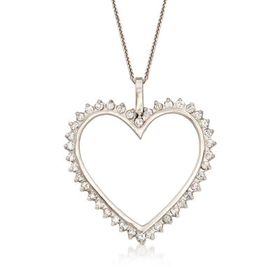 C. 1990 Vintage 2.00 ct. t.w. Diamond Heart Pendant Necklace in 14kt White Gold