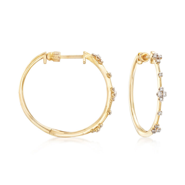 "Gabriel Designs .14 ct. t.w. Diamond Station Hoops in 14kt Yellow Gold. 7/8"", , default"
