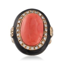 C. 1970 Vintage Pink Coral and .45 ct. t.w. Diamond Ring With Black Enamel in 14kt Gold, , default