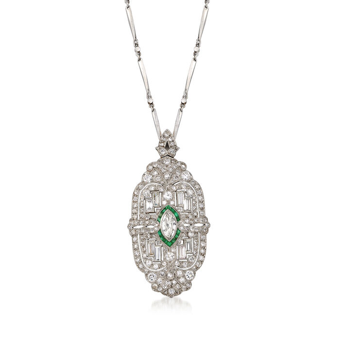 C. 1950 Vintage 4.55 ct. t.w. Diamond and .35 ct. t.w. Emerald Pin Pendant Necklace in Platinum