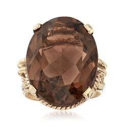 C. 1960 Vintage 17.85 Carat Smoky Quartz Ring in 10kt Yellow Gold, , default