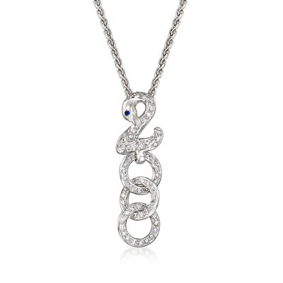 C. 1990 Vintage .55 ct. t.w. Diamond Swan with Circle Drop Necklace with Sapphire Accent in 18kt White Gold