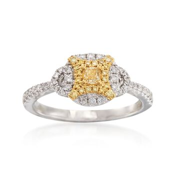 Gregg Ruth .50 ct. t.w. Yellow and White Diamond Ring in 18kt White Gold, , default