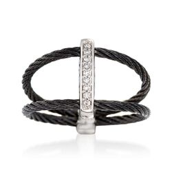 "ALOR ""Noir"" Black Cable Bar Ring With Diamond Accents and 18kt White Gold, , default"