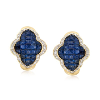C. 1980 Vintage 5.00 ct. t.w. Sapphire and .95 ct. t.w. Diamond Cluster Earrings in 18kt Yellow Gold