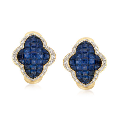 C. 1980 Vintage 5.00 ct. t.w. Sapphire and .95 ct. t.w. Diamond Cluster Earrings in 18kt Yellow Gold, , default