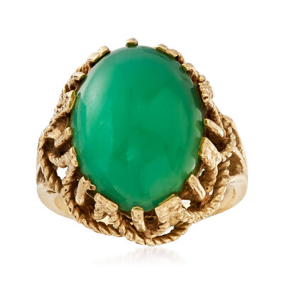 C. 1960 Vintage 17x13mm Green Chalcedony Ring in 10kt Yellow Gold, , default