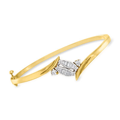 C. 1990 Vintage .85 ct. t.w. Diamond Bypass Bangle Bracelet in 14kt Two-Tone Gold