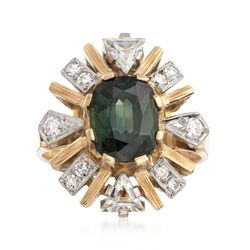 C. 1990 Vintage 1.80 Carat Green Tourmaline and .75 ct. t.w. Diamond Ring in 18kt Yellow Gold, , default