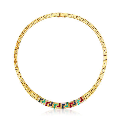 C. 1980 Vintage 5.20 ct. t.w. Multi-Gemstone and .75 ct. t.w. Diamond Greek Key Necklace in 18kt Yellow Gold, , default
