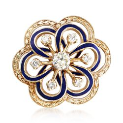 C. 1970 Vintage 1.10 ct. t.w. Diamond and Blue Enamel Open Floral Pin in 14kt Yellow Gold, , default