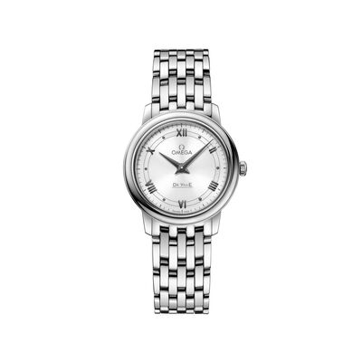 Omega De Ville Prestige Women's 27mm Stainless Steel Watch with White Dial