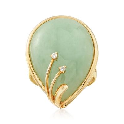 C. 1990 Vintage 26x18mm Green Jade Ring with Diamond Accents in 14kt Yellow Gold, , default