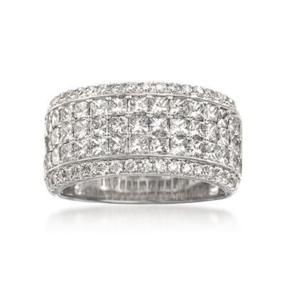 Simon G. 2.94 ct. t.w. Princess-Cut and Round Diamond Band Ring in 18kt White Gold