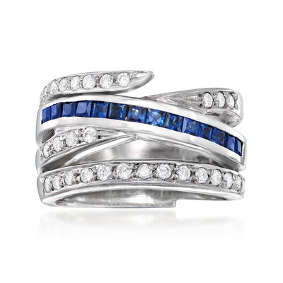 C. 2000 Vintage .70 ct. t.w. Sapphire and .48 ct. t.w. Diamond Crisscross Ring in 14kt White Gold