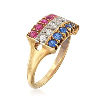 C. 1940 Vintage 1.20 ct. t.w. Synthetic Multi-Stone and .15 ct. t.w. Diamond Ring in 18kt Yellow Gold. Size 7.25