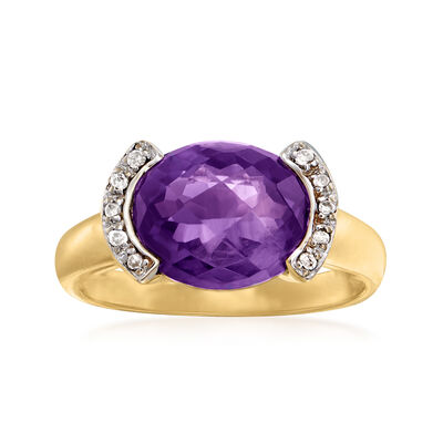 C. 1990 Vintage 3.80 Carat Amethyst Ring with Diamond Accents in 14kt Yellow Gold