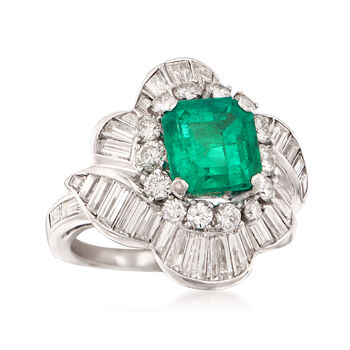 Circa 1990 Vintage 2.20 Carat  Emerald and 2.50 Carat Total Weight Diamond Ballerina Ring. Size 4.75, , default