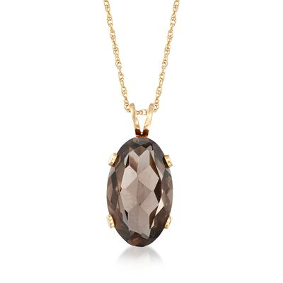 C. 1990 Vintage 16.70 Carat Smoky Quartz Pendant Necklace in 14kt Yellow Gold, , default