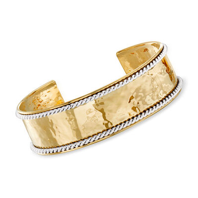 "Phillip Gavriel ""Italian Cable"" Cuff Bracelet in 14kt Two-Tone Gold"