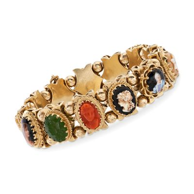 C. 1960 Vintage Carved Cameo Multi-Stone Charm Bracelet in 14kt Yellow Gold, , default