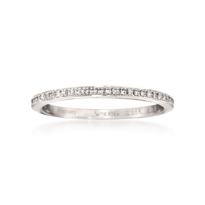Simon G. .25 Carat Total Weight Diamond Ring in 18-Karat White Gold. Size 7, , default