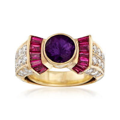 C. 1990 Vintage 1.10 Carat Synthetic Purple Sapphire and .70 ct. t.w. Diamond Ring with .65 ct. t.w. Rubies in 18kt Gold, , default