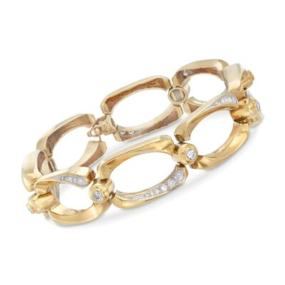 C. 1980 Vintage 1.20 ct. t.w. Diamond Open-Link Bracelet in 14kt Yellow Gold, , default