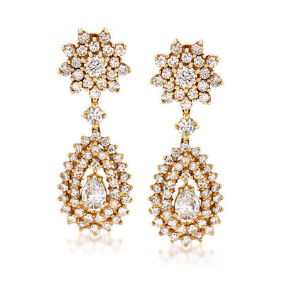 C. 1980 Vintage 5.00 ct. t.w. Diamond Drop Earrings in 18kt Yellow Gold