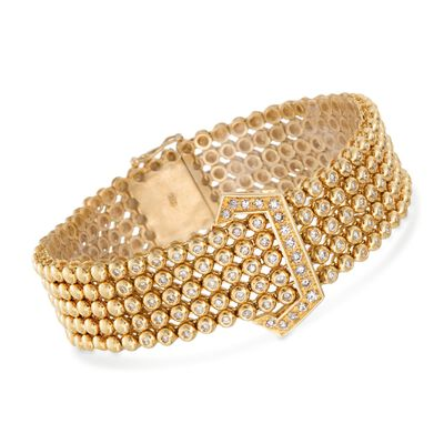 C. 1990 Vintage 1.50 ct. t.w. Diamond Beaded Buckle Bracelet in 18kt Yellow Gold