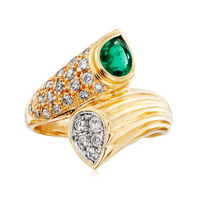 C. 1980 Vintage .70 Carat Emerald and .63 ct. t.w. Diamond Bypass Ring in 18kt Yellow Gold, , default