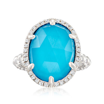 Gabriel Designs Turquoise and White Sapphire Doublet Halo Ring in Sterling Silver